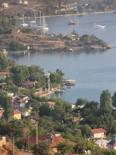 The bays, boats and village houses of Selimiye Village. Popular anchorage for yachts
