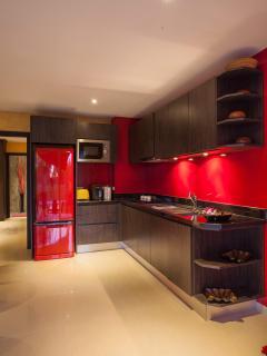 Stylish Kitchen with large Fridge Freezer.
