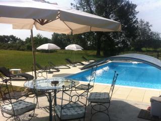 11x5meters salted swiming pool. Shared between 3 gîtes of 2 pers