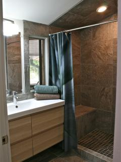 Beautiful bath with tiled shower and view to woods