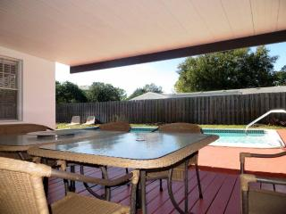 Enjoy breezy deck with seating for 8