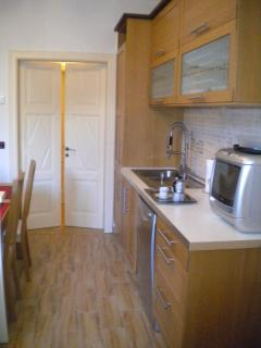 The kitchen, with double sink and a mixer of design, equipped with fridge-freezer and dishwasher ...
