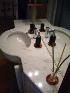 The washbasin in white Carrara marble shaped