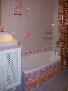 Bathroom : sink,toilet and bath with overhead shower. There is a wall mounted fan heater .