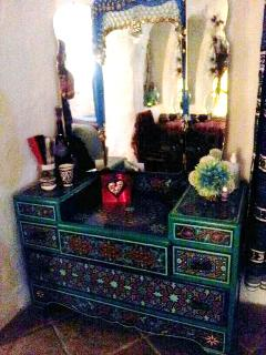 Dressing table ,hand painted by Moroccan artisans.one of the many moorish features in the double bedroom.