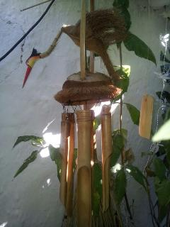 Bird wind chimes hanging from grape vine in patio.