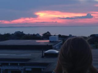 Sunsets from hilltop cottage on private beach, Gloucester