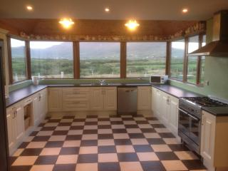 spacious kitchen with panoramic views of Mt Brandon