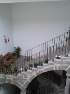 Staircase and landing with seating area