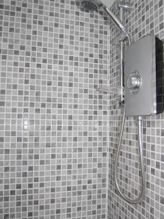 Newly fitted shower cabinet in the bathroom