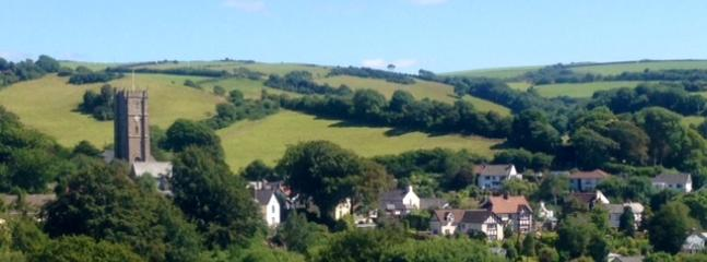 View from Hagginton Hill, School House is central behind the beech tree
