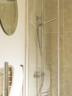 The brand new bathroom with double shower head