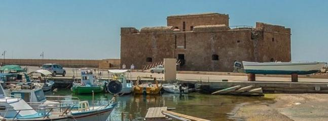 View of the landmark Byzantine fort in Paphos harbour