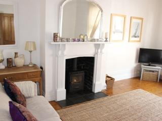 Living room with  woodburning stove