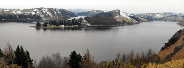 Llyn Clywedog with snow-capped hills - this is only 15 minutes away.  Photo taken by a lovely guest.