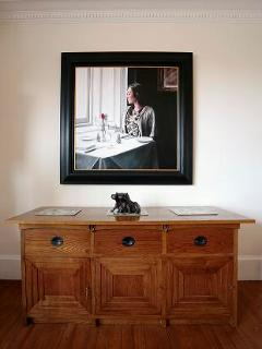 Mackintosh Chelsea sideboard in Dining Room. Painting by Scottish Artist.