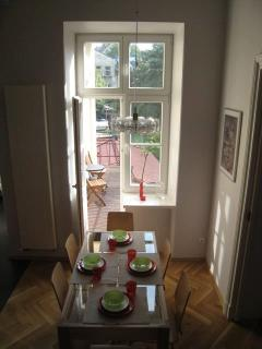 The dining area and the balcony