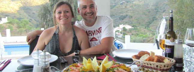Your hosts Niki & Paul on paella night