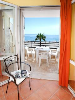 balcony, sea view