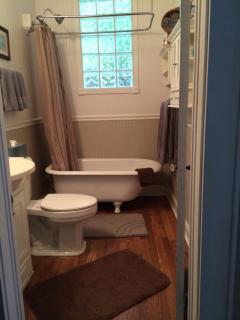 Clawfoot bathtub with shower