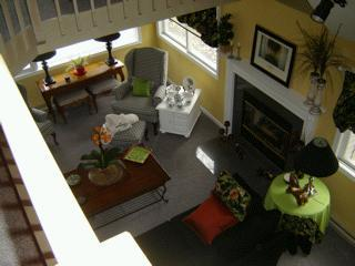 Looking down on the living room from upstairs
