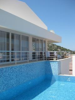 View from pool into Villa