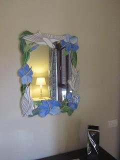 stained glass mirror in bedroom