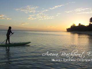 Paddleboarding at sunset