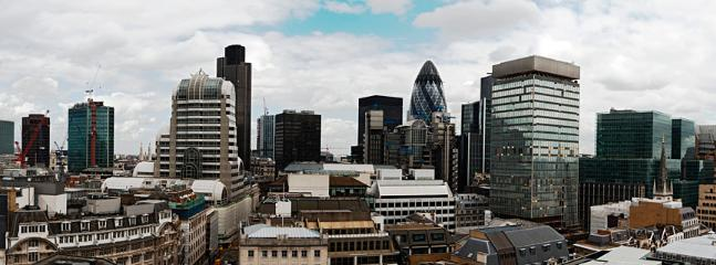 London City skyline seen from the roof terrace