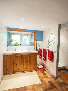 View of downstairs bathroom - double sink plus 3 inividual showers, making it a family bathroom...