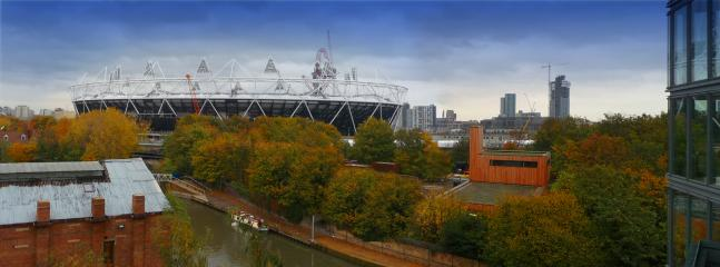 London 2012 Olympic Stadium – view from communal terrace (flat/apartment above).
