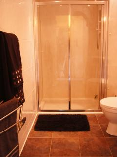 Downstairs Shower Room with sink and toilet with underfloor Heating , towel rail and shaver light.