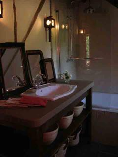 Partial view of East en suite bath, with shower/tub combination.