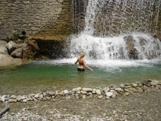 Swimming at the waterfall near il Mulino - a 3 minute stroll away
