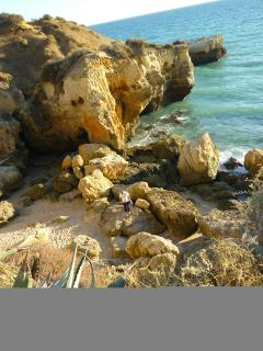 View from a cliff onto Forte Soa Joao Beach