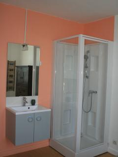 Corner shower and hand basin