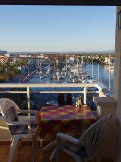 Furnished balcony offering panoramic views of mountains marina and coast