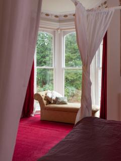 The master suite has stunning views of the grounds