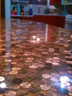 Close-up of the pennies in the resin.