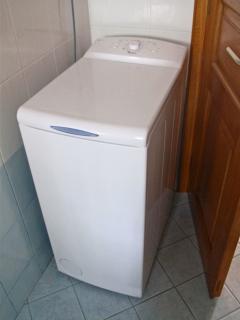 Washing machine in the bathroom.