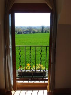 View from open plan bedroom French doors