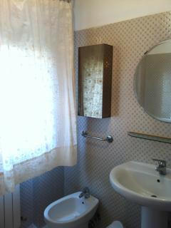 Bathroom with new bathroom fixture.
