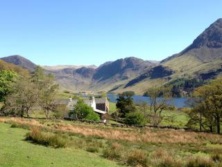 An idyllic location - with Buttermere lake, Fleetwith Pike & Haystacks behind.