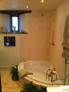 Luxury sunken bath with hand held and overhead shower