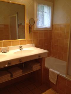 two basins, bath with shower, hairdryer, towels provided