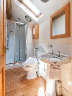 Ensuite bathroom to master bedroom upstairs, shower cubicle, basin and wc