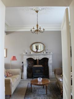 Stone fire place in the drawing room