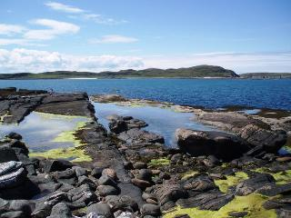 Stunning rock pools are just below the chalets