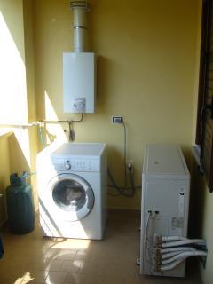 Rear balcony with washing machine