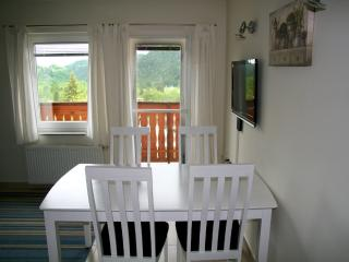 Dining for 4 persons. Door opens out to the rear balcony.